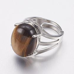bagues à large bande avec oeil de tigre naturel, avec des résultats d'anneaux d'alliage, ovale, 18 mm(X-RJEW-K224-A18)