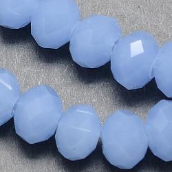 """Chapelets de perles en verre, style de jade d'imitation, facette, rondelle, cornflowerblue, 6x4mm, trou: 1mm; environ 95 pcs/chapelet, environ 14""""(X-GR6MMY-74)"""