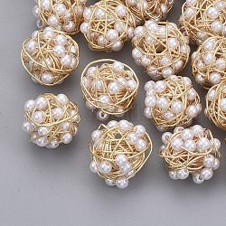 Brass Wire Beads, with ABS Plastic Imitation Pearl, Nickel Free, Real 18K Gold Plated, White, 14x14.5x14.5mm(X-KK-S354-010-NF)