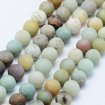 Natural Amazonite Beads Strands, Frosted, Round, 10~10.5mm, Hole: 1mm; about 37pcs/strand, 15 inches(G-F518-24-10mm)