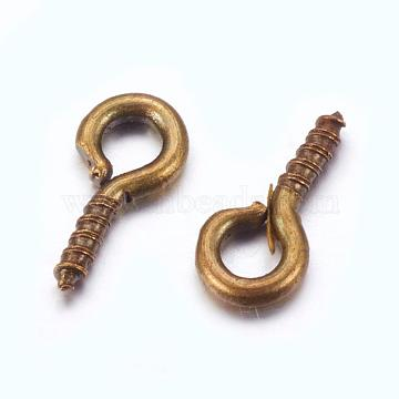 Iron Screw Eye Pin Peg Bails, DIY Metal Jewelry Supplies For Half Drilled Beads, Lead Free & Nickel Free, Antique Bronze, 8x4x1mm, Hole: 2mm (X-E561Y-AB-FF)