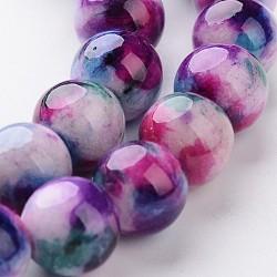 """Chapelets de perle en jade blanc naturel, teint, rond, pourpre, 8mm, trou: 1mm; environ 50 pcs/chapelet, 16""""(G-J340-8mm-02)"""