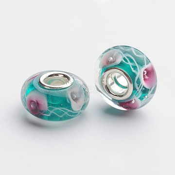 Handmade Lampwork European Large Hole Beads, with 925 Sterling Silver Core, Rondelle, Dark Cyan, 14.5x8.5mm, Hole: 5mm(X-LPDL-F003-15)