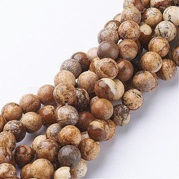 8mm OliveDrab Round Picture Jasper Beads