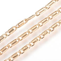 chaînes à maillons en laiton, soudé, réel 18 k plaqué or, 7x2.3x1 mm(X-CHC-R126-08G)