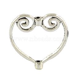 Cadres de perles en alliage de style tibétain, cœur, sans plomb et sans cadmium, argent antique, 20x20x3mm, Trou: 1mm(X-TIBEB-A10424-AS-RS)