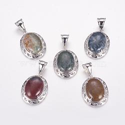 Pendentifs en agate indienne naturelle, avec les accessoires en laiton de tonalité de platine, ovale, chardon, 43x31.5~32x11~12mm, Trou: 9x15mm(G-F412-02P)