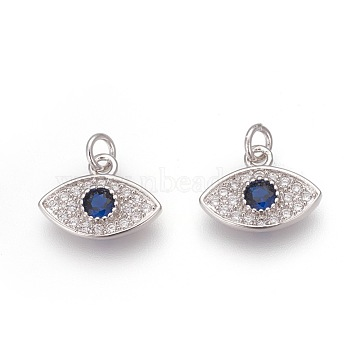 Brass Pendants, with Micro Pave Cubic Zirconia, Eye, Colorful, Platinum, 9x12x2.5mm, Hole: 2.5mm(X-KK-O120-01P)