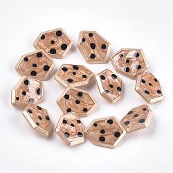 Boutons en alliage de zinc, avec résine époxy, polygone, couleur or mat, Sandybrown, 21.5x27.5x8mm, Trou: 2mm(X-BUTT-S023-04A)