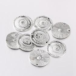 Anciens supports connecteur en alliage d'argent strass pour l'émail, plat rond, sans plomb et sans cadmium, environ 22 mm de diamètre, épaisseur de 2mm, Trou: 1.5mm(X-EA300Y)