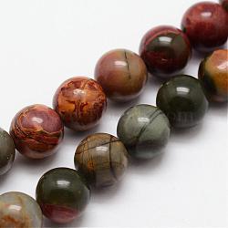 """Pierre naturelle picasso / brins de perles de jaspe picasso, rond, 8mm, trou: 1mm; environ 24 pcs/chapelet, 7.7""""(G-O155-02B-8mm)"""