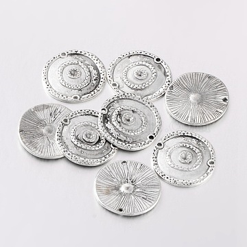 Alloy Rhinestone Connector Settings, Lead Free and Cadmium Free, Flat Round, Antique Silver, about 22mm in diameter, 2mm thick, hole: 1.5mm, Fit for 1.8mm rhinestone(X-EA300Y)