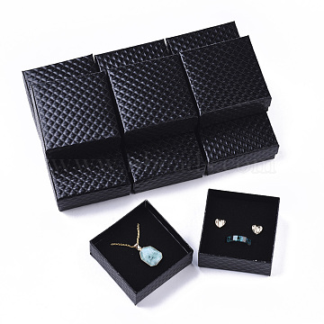 Cardboard Jewelry Boxes, for Pendant & Earring & Ring, with Sponge Inside, Square, Black, 7.5x7.5x3.5cm(X-CBOX-N012-25B)