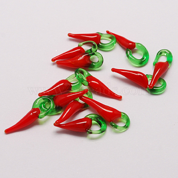 Handmade Lampwork Pendants, Hot Pepper, Red, 26~36x10~12x8~9mm, Hole: 2~4mm(X-LAMP-S126-3)