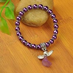 Bracelets d'ange belle avec robe de mariée pour les enfants, bracelets carnaval extensibles, avec verre perles de nacre et de perles de style tibétain, blueviolet, 45mm(BJEW-JB00727-10)