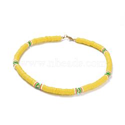 """Colliers de foulard en perles de polymère faites main en pâte polymère, avec perles d'espacement en laiton et 304 découverte en acier inoxydable, jaune, 14.1~14.3"""" (36~36.5cm); 6mm(NJEW-JN02446-04)"""