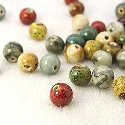 Handmade Fancy Antique Glazed Porcelain Beads, Round, Mixed Color, 12mm, Hole: 2mm(X-PORC-R404-M2)