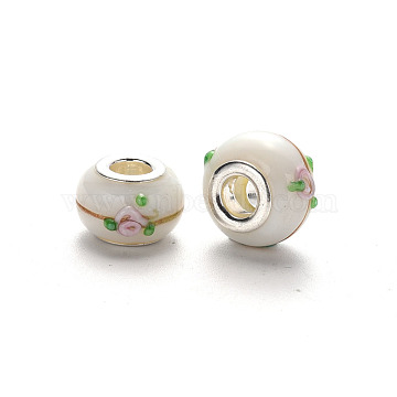 Handmade Lampwork European Beads, Large Hole Rondelle Beads, Bumpy Lampwork, with Glitter Powder and Platinum Tone Brass Double Cores, Floral White, 14~15x9~10mm, Hole: 5mm(LPDL-N001-037-E10)