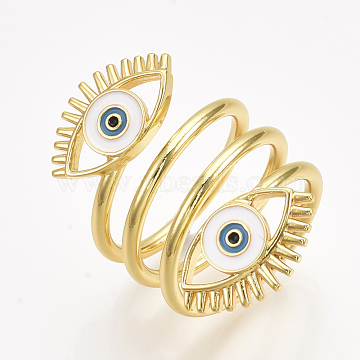 Brass Cuff Rings, Open Rings, with Enamel, Eye, Golden, Size 9, 19mm(X-RJEW-S044-055)