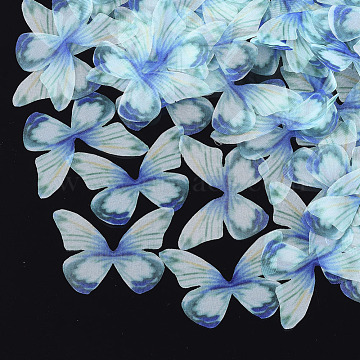 Organza Fabric, For DIY Jewelry Making Crafts, Butterfly, CadetBlue, 34x48.5mm(X-FIND-S317-03)