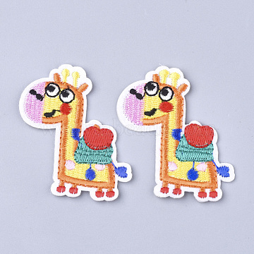 Computerized Embroidery Cloth Iron On Patches, Costume Accessories, Appliques, Giraffe, Goldenrod, 57x49.5x2mm(X-FIND-T030-084)