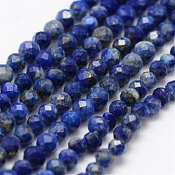 Natural Lapis Lazuli Beads Strands, Faceted, Round, 2mm, Hole: 0.5mm;  about 175pcs/strand, 14.9''(38cm)