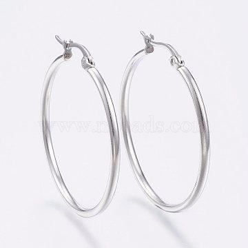 (Same Sku: STAS-P176-39mm-P)304 Stainless Steel Big Hoop Earrings, Hypoallergenic Earrings, Stainless Steel Color, 12 Gauge, 39~41x2mm, Pin: 0.7x1mm(X-EJEW-F105-07P)