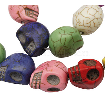 Synthetic Howlite Beads, for Halloween, Skull, Dyed, Mixed Color, 18x17mm, Hole: 1mm(X-TURQ-18X17-11)