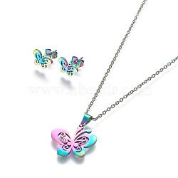304 ensembles de bijoux en acier inoxydable, boucles d'oreille et colliers, papillon, multicolore, 17.7 18.1 cm); (45~46 mm; Broche: 8x10.5 mm(X-SJEW-L141-074M)