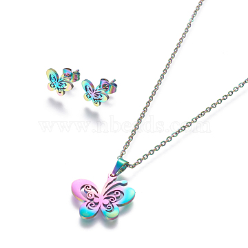 304 Stainless Steel Jewelry Sets, Stud Earring and Pendant Necklaces, Butterfly, Rainbow, Multi-color, 17.7 inches~18.1 inches(45~46cm), 8x10.5mm, Pin: 0.8mm(X-SJEW-L141-074M)