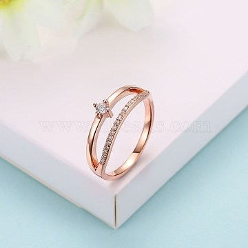 Sterling Silver Finger Rings, Cubic Zirconia Ring, Size 8, Rose Gold, 18.1mm(RJEW-BB29267-B-8)