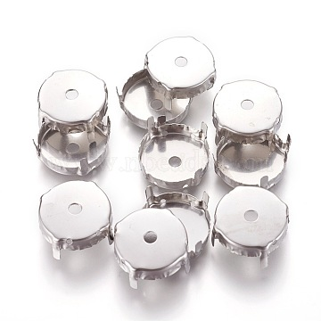 Stainless Steel Rhinestone Claw Settings, Flat Round, Stainless Steel Color, 19x8.3mm; Tray: 18mm(X-STAS-L229-05A)