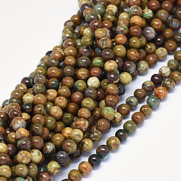 Natural Chrysocolla Beads Strands, Round, 8mm, Hole: 0.8mm, about 52pcs/strand, 15.5~15.9 inches(39.5~40.5cm)(G-F602-06-8mm)