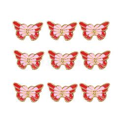 Perles en émail d'alliage de style chinois, papillon, or, rouge, 9.5x15.5x4mm, Trou: 1.6mm(X-ENAM-L015-16D-G)
