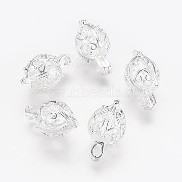 Brass Locket Pendants, Cage Pendants, teardrop, Filigree, Silver Color Plated, 22x13x12mm, Hole: 3x4.5mm, Inner: 10.5x12mm(KK-P115-17S)