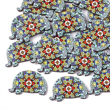 Printed Basswood Cabochons, Elephant, Colorful, 22.5x34x3mm(X-WOOD-S045-077)