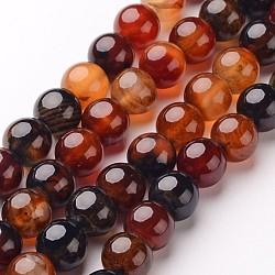 """Chapelets de perles d'agate naturelle, rond, teints et chauffée, chocolat, 6mm, trou: 1mm; environ 64 pcs/chapelet, 14.5""""(X-G-D845-02-6mm)"""