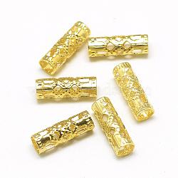 Poignets enroulés de cheveux en fer, Bobine de manchette, colonne, or, 12x4mm, Trou: 3mm(IFIN-S696-02G)