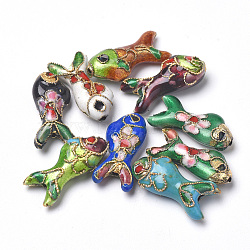 Handmade Cloisonne Beads, Fish, Mixed Color, 19.5x9x5~6mm, Hole: 1mm(X-CLB-S006-05)