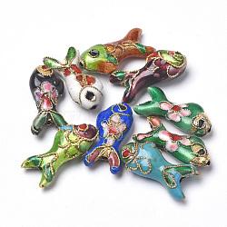 perles en cloisonné main, poisson, couleur mélangée, 19.5x9x5~6 mm, trou: 1 mm(X-CLB-S006-05)