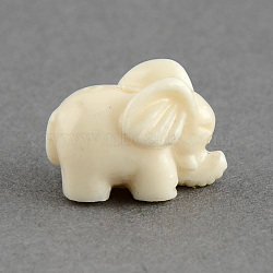 Éléphant coloré de perles de corail synthétique, cornsilk, 10x15x9.5mm, Trou: 2mm(CORA-S002-03)