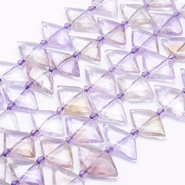 Natural Ametrine Beads Strands, Faceted Rhombus, 26~28x13~15x4~7mm, Hole: 1mm; about 23~24pcs/strand, 15.3inches~15.9inches(39~40.5cm)(G-J373-23A)