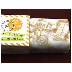 Papier d'emballage de gâteau alimentaire jetable, papier sulfurisé, style de timbre, colorées, 25x21.8cm; 50pcs / boîte(DIY-L009-A16)