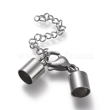 304 Stainless Steel Chain Extender, with Cord Ends, Curb Chains and Lobster Claw Clasps, Stainless Steel Color, 44mm long; Cord Ends: 12.5x8mm, 6.5mm inner diameter(STAS-K195-22P-05)