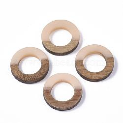 Anneaux de liaison en résine et bois, anneau, mistyrose, 18x4mm(X-RESI-S358-21F)