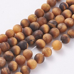 Natural Frosted Tiger Eye Round Bead Strands, Grade A, 4mm, Hole: 1mm; about 93~96pcs/strand, 14.9~15.6