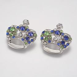 Pendentifs en strass, avec les accessoires en alliage, couronne, platine, colorées, 31x29x10mm, Trou: 3mm(X-RSB453-8)