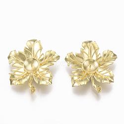 Liens en laiton piquets, pour la moitié de perles percées, sans nickel, feuille, non plaqué, 34.5x30x8mm, trou: 5x3~2 mm; broches: 0.6 mm(KK-S349-206-NF)