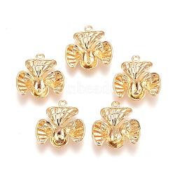 pendentifs en laiton, pour la moitié de perles percées, sans nickel, fleur, véritable plaqué or, plateau: 6 mm; 21x20x8 mm, trou: 1.8 mm; broches: 1 mm(KK-E760-29G-NF)