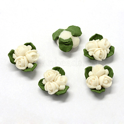 Handmade Porcelain Cabochons, China Clay Beads, Flower, Floral White, 15.5~17.5x15~17x8~9mm(X-PORC-S1003-22D)